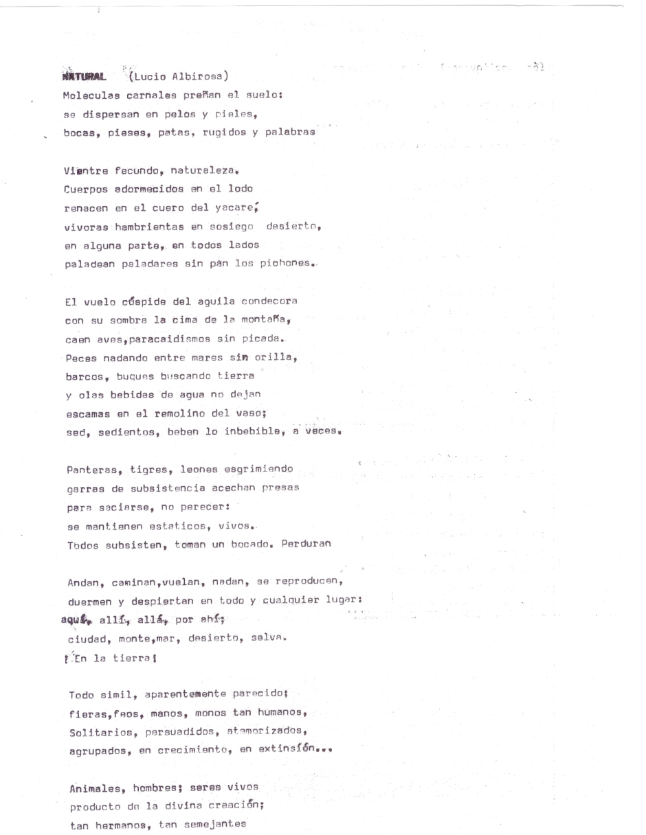 Poema de Lucio Albirosa