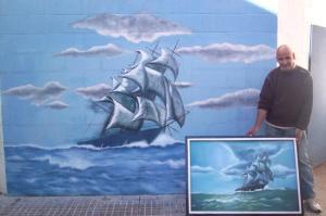 Tempestad. Obra pintada por José Luis sobre uno de los muros de la prisión de la UP 31